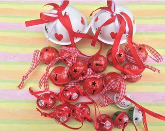 Gorgeous Red Hand-Painted Hearts Jingle Bells - Set of 20
