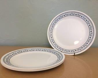 "15% SALE *** Four Corelle Blueberry Summer Impressions 10"" Dinner Plates White & Navy Blue Floral Cross Stitch Motif"