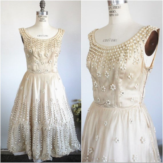 CLEARANCE: Vintage 1950s Ceil Chapman Dress / 50s Designer Fit and Flare New Look Dress / With Pearl Beading Sequins Rhinestones Hollywood