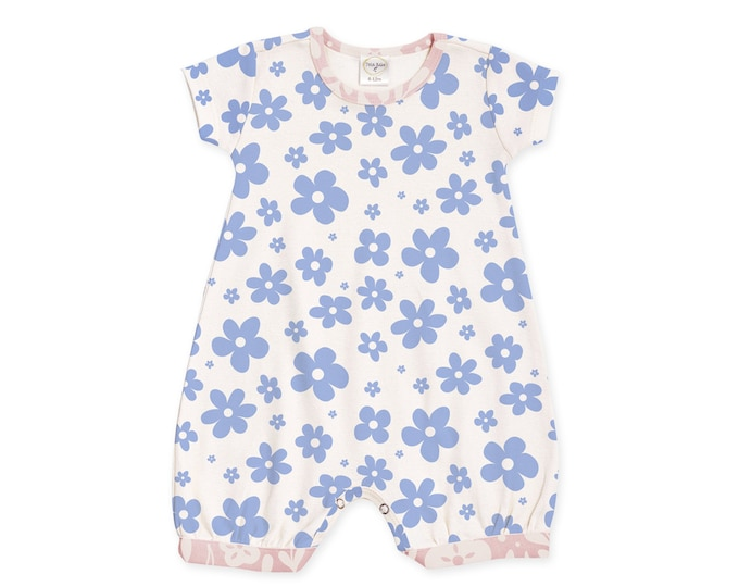 Newborn Girl Outfit, Baby Girl Outfit, Newborn Girl Coming Home, Newborn Girl Romper, Baby Girl Bubble Romper, Blue Floral Romper, TesaBabe