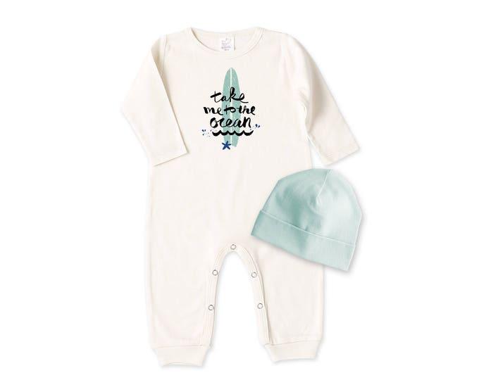 Newborn Boy Outfit, Baby Boy Romper, Baby Boy Outfit, Beanie, Baby Boy Coming Home Outfit, Baby Nautical Nursery Tesa Babe RC81IY63SG