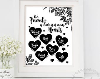Keepsake Family Print / Birthday and Names / Grandmother Gift Nana Grandma Gift from Grandchildren / Our Family Is Made Up Of Many Hearts