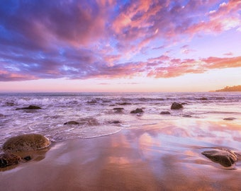 Malibu Beach Sunset Photography Print Pacific Ocean California Seascape Fine Art Wall Art Decor | Also Available on Canvas or Metal