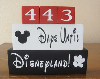 Disney countdown blocks REVERSIBLE Days Until Disneyland Weeks until vacation countdown/Hand Painted/Disneyland Mickey Mouse Family decor