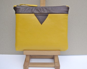 Yellow and Brown Soft Italian Leather Colourblock Clutch