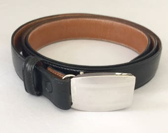 Vintage Brooks Brothers Black Leather Men's Belt with Sterling Buckle Accessory