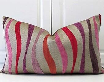 Carole Fabrics Decorative Pillow Cover-Modern Wavy Lines Chenille-Silver-18x18,20x20,22x22,or13x23 Lumbar