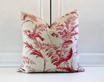 Decorative Pillow Cover- Red Birds on Linen