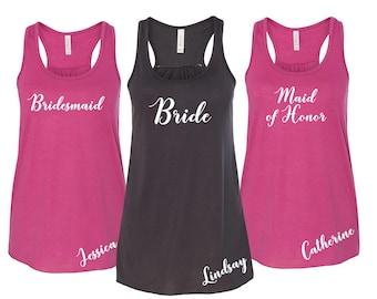 Wedding Party Shirts, Personalized Bridesmaid Tanks, Bridesmaid Flowy Tanks, Bachelorette Party Tank Tops, Bridesmaid Tanktops