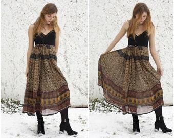 70s Brown Indian Cotton Gauze Maxi Skirt Womens High Waist 1970s Ethnic