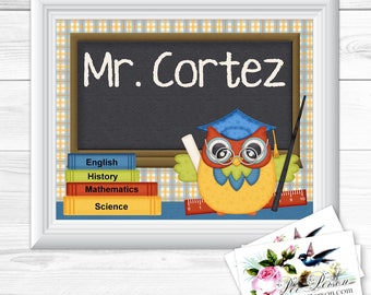 "Personalized / Custom Gift Teacher Appreciation, Principal, Administrator, Aide, Tutor, Subway Style Wall Art Sign 8x10"" Horizontal Any Name"
