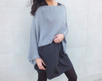 Cropped sweater, batwing sweater,Cotton sweater, Handknit, Poncho, Short Sweater, Gray top sweater
