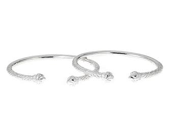 Solid .925 Sterling Silver West Indian Bangles with Fancy Pointed Ends (PAIR)