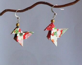 Boucles d'oreilles Origami Cocottes Papier Japonais .