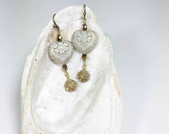 White Earrings, Romantic Heart Earrings, Shabby Chic Jewelry, Gifts for Her