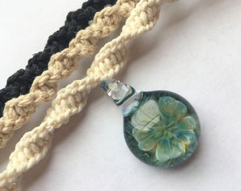 Flower - Beautiful Hand Blown OOAK Glass Flower Pendant on Handmade Hemp Necklace in Your Choice of Color- Flower Implosion- Boro Glass