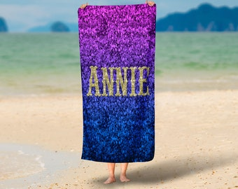 Personalized   Beach Towel , Oversized  36 in x 72 in Purple Ombre