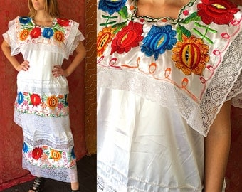 Mexican Embroidered Dress Mexican Wedding Dress Wedding Lace Festival Dress