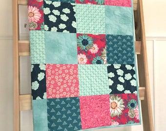 Floral baby quilt, magenta-teal-turqoise-aqua