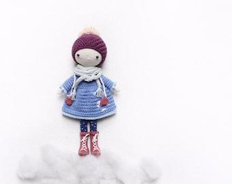 Snowflake - amigurumi winter doll - girl on ice - English pattern - kikalite