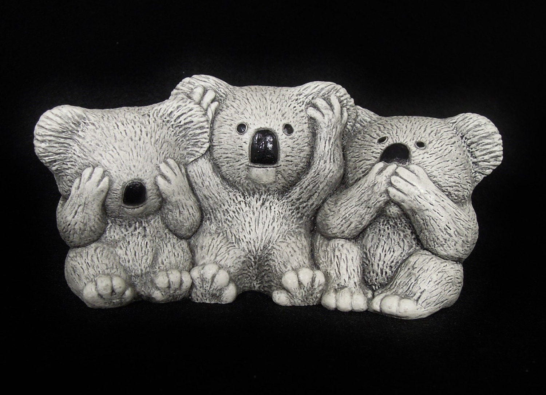 Three wise monkeys wooden ornaments - Three Koala Bears That Hear No Evil See No Evil Speak No Evil Just Like The