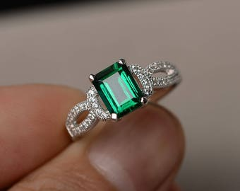 Emerald Engagement Rings Sterling Silver Ring Promise Ring Green Gemstone May Birthstone