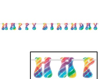 Colorful 9 foot long cardstock Tie Dye Banner with ribbon - Groovy Retro Tie Dye Party Banner! - 60's Party - 70's Party