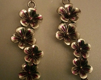 Flower Chain Earrings Hibiscus Pink.  Stocking Stuffer