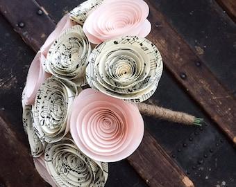 Paper Flower Bouquet - Wedding Bouquet Alternative - Wedding Bouquet - Paper Bridal Bouquet - Paper Flowers - Music Sheet - Blush Pink