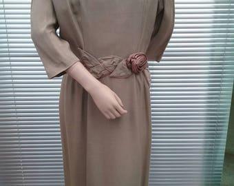 Olive Green Shantung Silk True Vintage Dress 1950s 50s