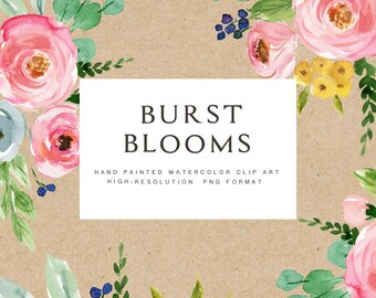 Watercolor flower clipart-Burst Blooms/Individual PNG files/Hand Painted/wedding
