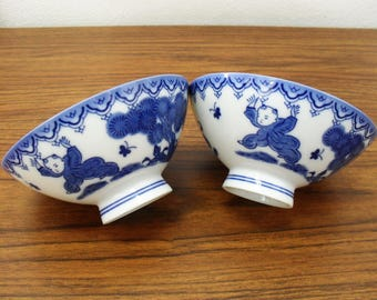 Japanese Blue And White Ceramic Playing Boys Bowls Rice Bowls Set Of 2