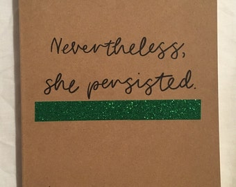Hand-illustrated kraft notebook. 'Nevertheless, she persisted' notebook - food diary, bullet journal, sketchbook, syns diary.