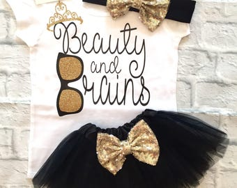 Baby Girls Clothes, Beauty and Brains Bodysuits, Beauty and Brains Shirts, Princess Shirts, Beauty and Brains Tops, Baby Shower Gifts