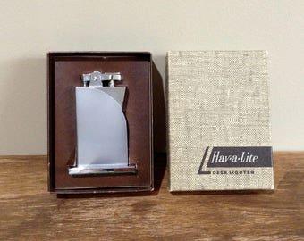 Vintage Hav-A-Lite Art Deco Style Desk Lighter in Original Box / Mid Century Table Lighter Made in Japan / 1960's