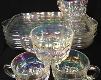 Aurora Borealis Snack Set of 8 by Federal Glass in Colonial Iridescence Pattern, 1960's, AB Carnival Glass Trays and Cups, Nice for Tea Time