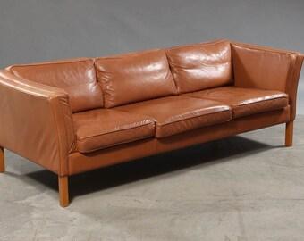 Long cognac brown vintage 3-seater leather sofa, Denmark