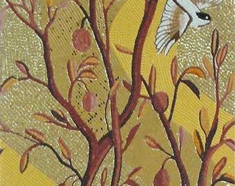 Gold Tree with Birds Glass Mosaic Mural