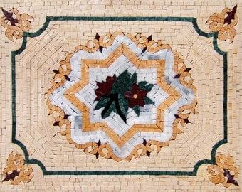 Flower Marble Mosaic Pattern