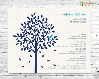 BAPTISM GIFT for GODSON, Personalized Baptism Gift for Baby Boys, Christening Dedication Gift, Baptism Tree Print, Be Brave Nursery Decor