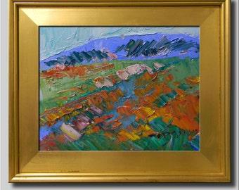 Plein Air Landscape Painting, Impressionist Oil Painting, Landscape, Flower Field, Orange Painting, Abstract Painting