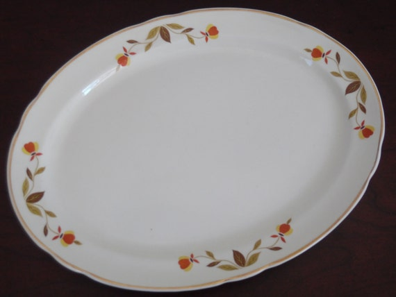Autumn Leaf China Ruffled Oval Serving Platter