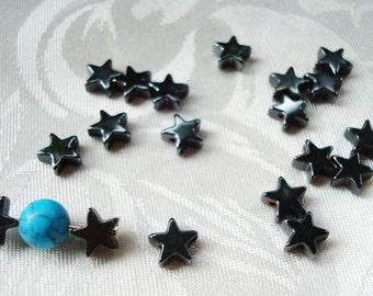 "SALE! Black Hematite Gemstone Star Beads. Non Magnetic. 6x2mm. Natural Hematite 5 Point Stars. Full 86pc 16"" Strand. ~USPS Ship Rates/ OR"