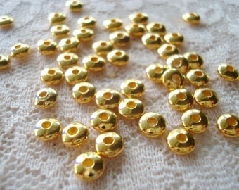50 Gold Rondelle Smooth BRASS Disk Spacers. 5x2.5mm Quality Gold Finish. Little Gold Brass Disk Beads.  ~USPS Ship Rates / Oregon