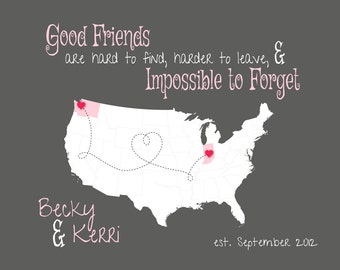 Going Away Gift for Friend, Personalized Map Gift for BFF, Long Distance Friendship Gift, Good Friends are hard to Leave Quote, Map of US
