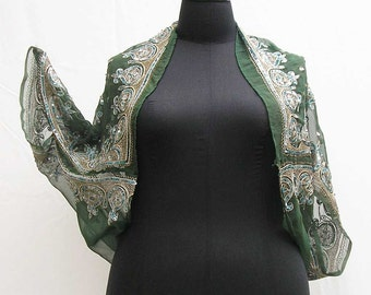 Green shrug, sequinned bolero, cocoon jacket, plus size shrug, green wrap, boho shrug, 1x 2x 3x, sequins stole, embroidered shrug, emerald
