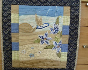 """Machine embroidered and quilted wall hanging """"Feeding Bird"""""""