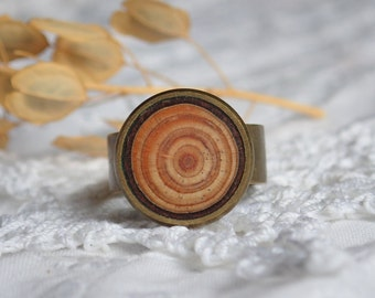 Natural larch wood ring, natural reclaimed wood jewelry, unique rings made from tree, eco friendly nature gift for her, wood craft jewellery