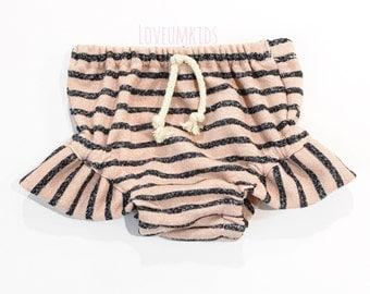 Boho Baby // Toddler Girls Heathered Pink & Indigo Blue Stripe Flutter Bloomers,  Shorties, Diaper Cover