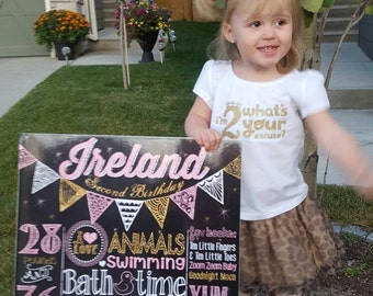 SALE Pink and Gold First Birthday Chalkboard Poster Girl Flags 1st Birthday Chalk Board Sparkle Girl or Boy Custom